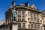 Bronze statue of William Pitt the Younger a British Prime Minister on George and Frederick streets Edinburgh Scotland with histo