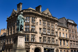 Bronze sculpture of William Pitt the Younger a British Prime Minister on George and Frederick streets Edinburgh Scotland with hi