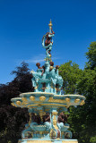 Freshly painted and restored cast iron Ross Fountain in West Princes Street Gardens Edinburgh Scotland