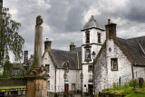 17th Century Burgh architecture of Cowanes Hospital with statue of John Cowane at Holy Rude Old Town cemetery and Stirling Jail