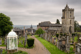 Church of the Holy Rude with Bell tower and Royal Cemetery with historic gravestones and memorials on Castle Hill above Stirling