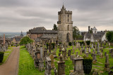 Church of the Holy Rude or Holy Cross with Bell tower and Royal Cemetery with historic gravestones on Castle Hill above Stirling