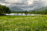 Heavy clouds in the Scottish Highlands near Kilchurn Castel at Loch Awe Dalmally Argyll and Bute Scotland UK