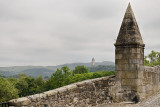 National Wallace Monument crown spire from the Old Stirling Bridge with clouds Stirling Scotland UK