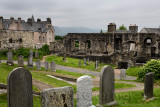 16th Century Mar's Wark stone townhouse ruins at Royal Old Town cemetery at the Church of the Holy Rude on Castle Hill Stirling