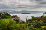 Hilltop garden view of Tobermory harbour on Isle of Mull with Calve Island in the Sound of Mull Inner Hebrides Scotland UK