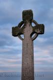 Duchess Cross granite memorial to Elizabeth Duchess of Argyll at dusk on Isle of Iona Inner Hebrides Scotland UK