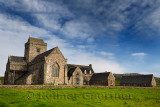 Restoration work at Iona Abbey monastery founded by St Columba bringing christianity to Scotland on Isle of Iona Inner Hebrides