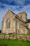 Restoration work of medieval church at Iona Abbey monastery founded by St Columba on Isle of Iona Inner Hebrides Scotland UK