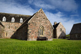 Renovated medieval Michael Chapel at Iona Abbey monastery birthplace of christianity in Scotland on Isle of Iona Inner Hebrides