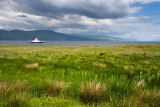 Sound of Mull Ferry at Loch Linnhe with clouds from Isle of Mull Duart Castle Scotland UK