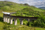 Heritage Jacobite coal fired Steam Train at Glenfinnan viaduct in the Lochaber Scottish Highlands Scotland United Kingdom