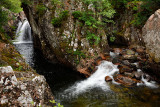 Lower Falls and rapids of the Water of Nevis river in Glen Nevis valley at Achriabhach Scottish Highlands Scotland UK