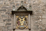 1638 stone frame for the 1672 Coat of Arms for Hugh Campbell and Henrietta Stewart and motto Be Mind Full at Cawdor Castle Scotl