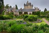 The formal Flower Garden south of Cawdor Castle after a rain in Cawdor Nairn Scotland UK