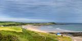 Panorama of wide sandy Inverboyndie Beach at Boyndie Bay and Whitehills village from Banff Aberdeenshire Scotland UK