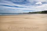 View of MacDuff village from Banff over River Deveran wide sand beach at Banff Bay Moray Firth Aberdeenshire Scotland UK