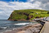 Shore of Pennan coastal fishing village in Aberdeenshire Scotland UK featured in film Local Hero
