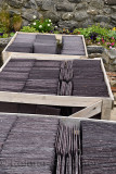 Boxes of new slate roof tiles at a rock wall flower garden in Crovie Banff Aberdeenshire Scotland UK
