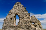 13th Century St Mary Chapel ruins of fieldstone at Old Rattray Aberdeenshire Scotland UK with blue sky
