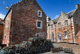 Brodie's Grannie's restaurant and stone houses and lobster traps in the fishing village of Crail Fife Scotland UK