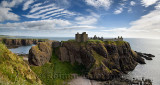 Panorama of Dunnottar Castle Medieval clifftop ruins from cliff at Old Hall Bay North Sea near Stonehaven Scotland UK
