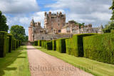 Red stone path with yew hedges in east Italian Garden of Glamis Castle home of Earl and Countess of Strathmore and Kinghorne Sco