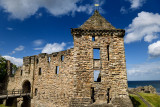 St Andrews Castle 13th Century south wall and square tower stone ruins exterier on the coast of the North Sea in Fife Scotland U