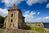 St Andrews Castle 13th Century square tower stone ruins exterier on the rocky coast of the North Sea in Fife Scotland UK