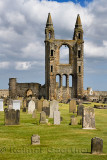 Stone ruins of the East Tower of 14th Century St Andrews Cathedral with cemetery gravestones in St Andrews Fife Scotland UK