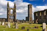 14th Century stone ruins of east tower and south wall of St Andrews Cathedral with 12th Century St Rules Tower St Andrews Fife S