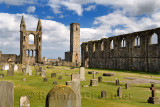 14th Century ruins of east tower and south wall of St Andrews Cathedral nave with 12th Century St Rules Tower St Andrews Fife Sc