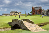 The Royal and Ancient Golf Club of St Andrews clubhouse on the 18th Hole of Old Course St Andrews Links golf course at Swilken B