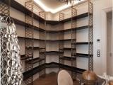 scaffale arredamento casa negozio legno e metallo bronzato  taglio laser