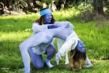 models in blue