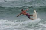Boca beach surfers on a windy day