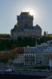 Chateau Frontenac backlit by the sun