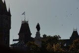 Upper town Quebec roofs and Champlain statue