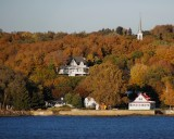 Beautiful fall color, small river town