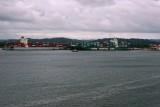 Gatun locks and ships transiting