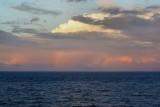 Rainbow, sunset, and ship