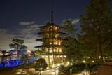 Japanese pagoda at night