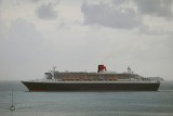 Queen Mary 2 anchored off Tortola