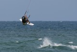 Kite boarder catches air