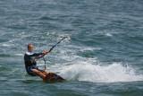Kite boarder making way