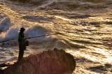 Dangerous Fishing At Sunset