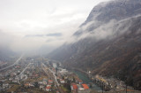 Valle d'Aosta, view on town of Bard from fort