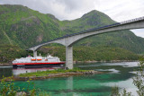 Lofoten islands. Hurtigruten vessel under the Raftsund Bridge