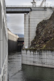 12.  Exiting The Dalles Dam lock.  Red light; don't back up.