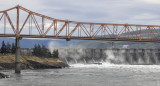 13.  The Dalles bridge and the dam spillway.